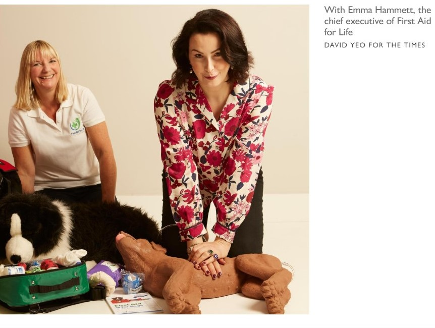 Hannah J Betts' article for The Times – her experience on our First Aid for Dogs course