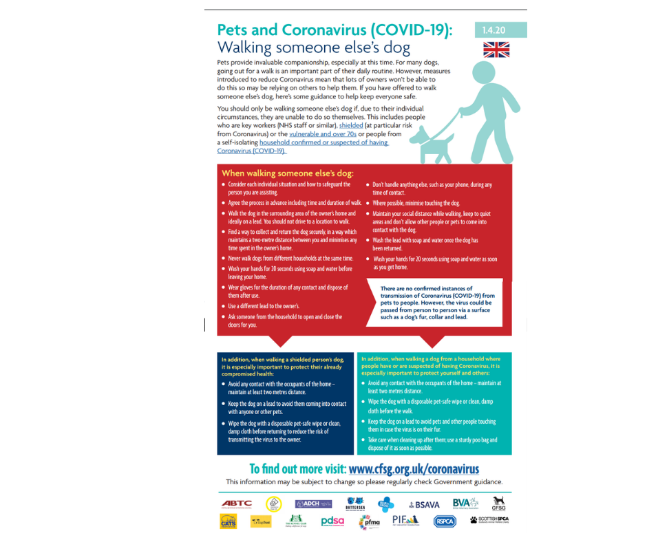 Advice for pet walkers during Covid19